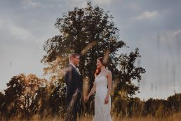Bride and groom portrait at Narborough Hall by sunset