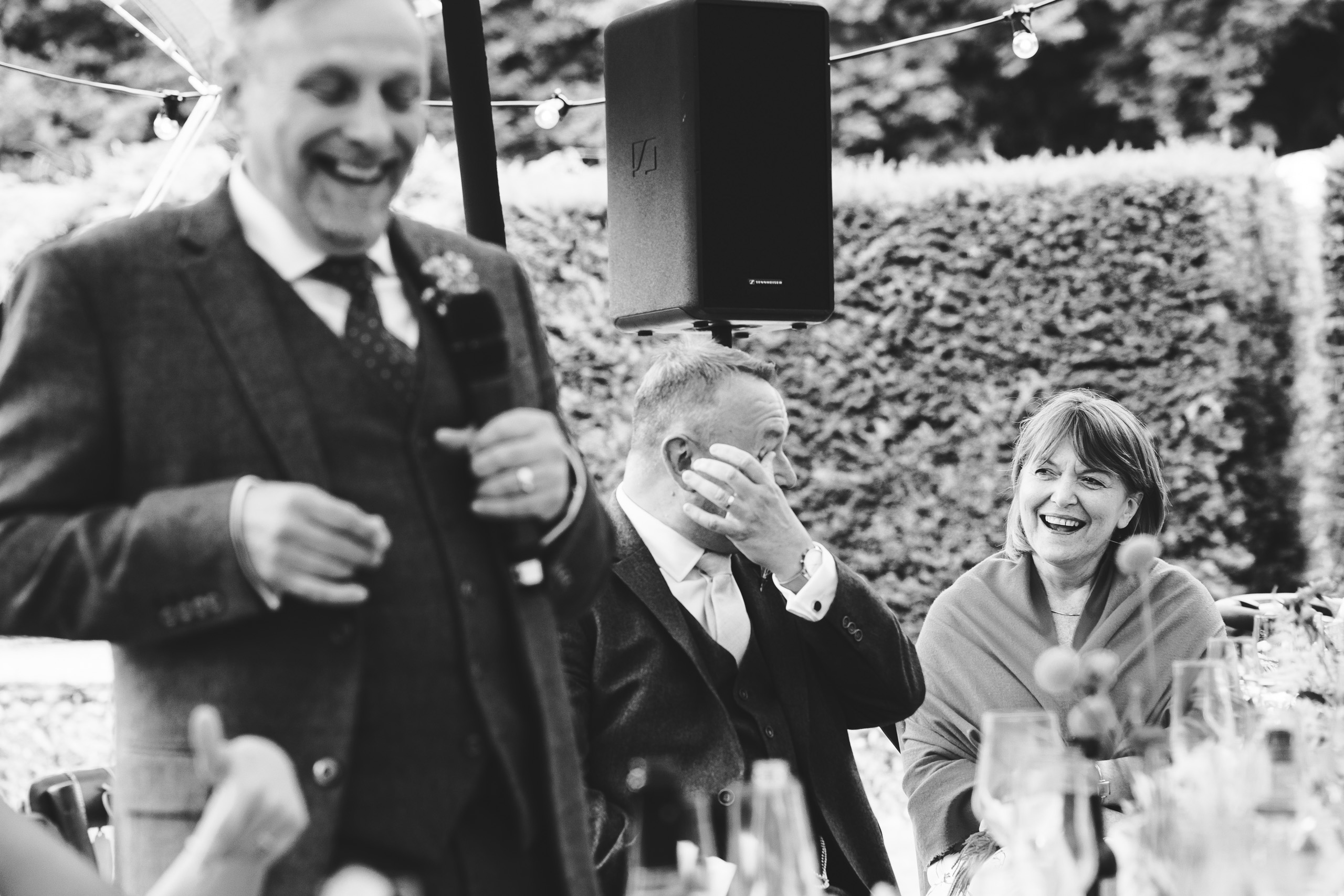laughter at the wedding speeches