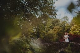 Newlyweds at a Bressingham Hall Wedding enjoying Bressingham gardens