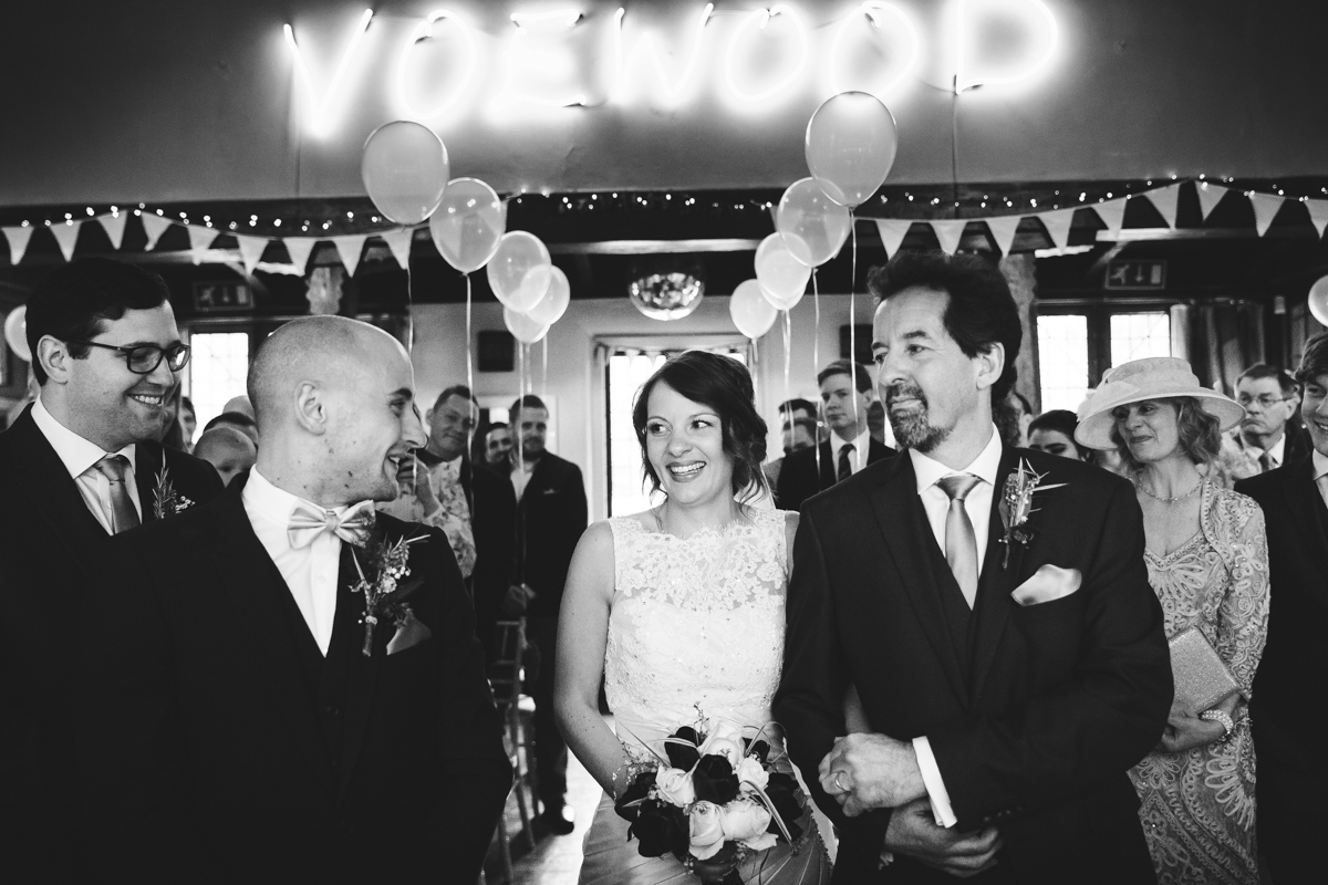 bride sets eyes on her groom at the top of the aisle at voewood