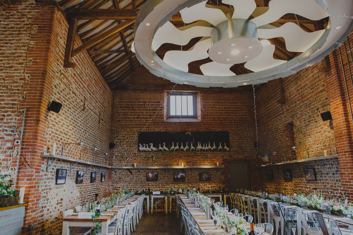 The dining room at Back to the Garden wedding venue