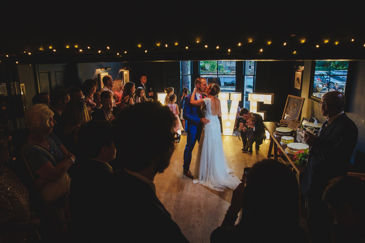bride and groom first dance at the Georgian Townhouse hotel wedding venue in Norwich
