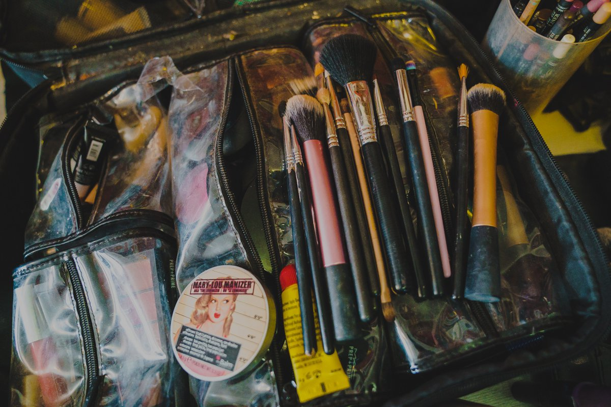 detail of a wedding makeup artists bag