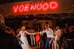 Bride and groom on the dance floor at voewood