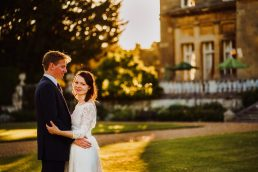 newly wed couple outside Luton Hoo