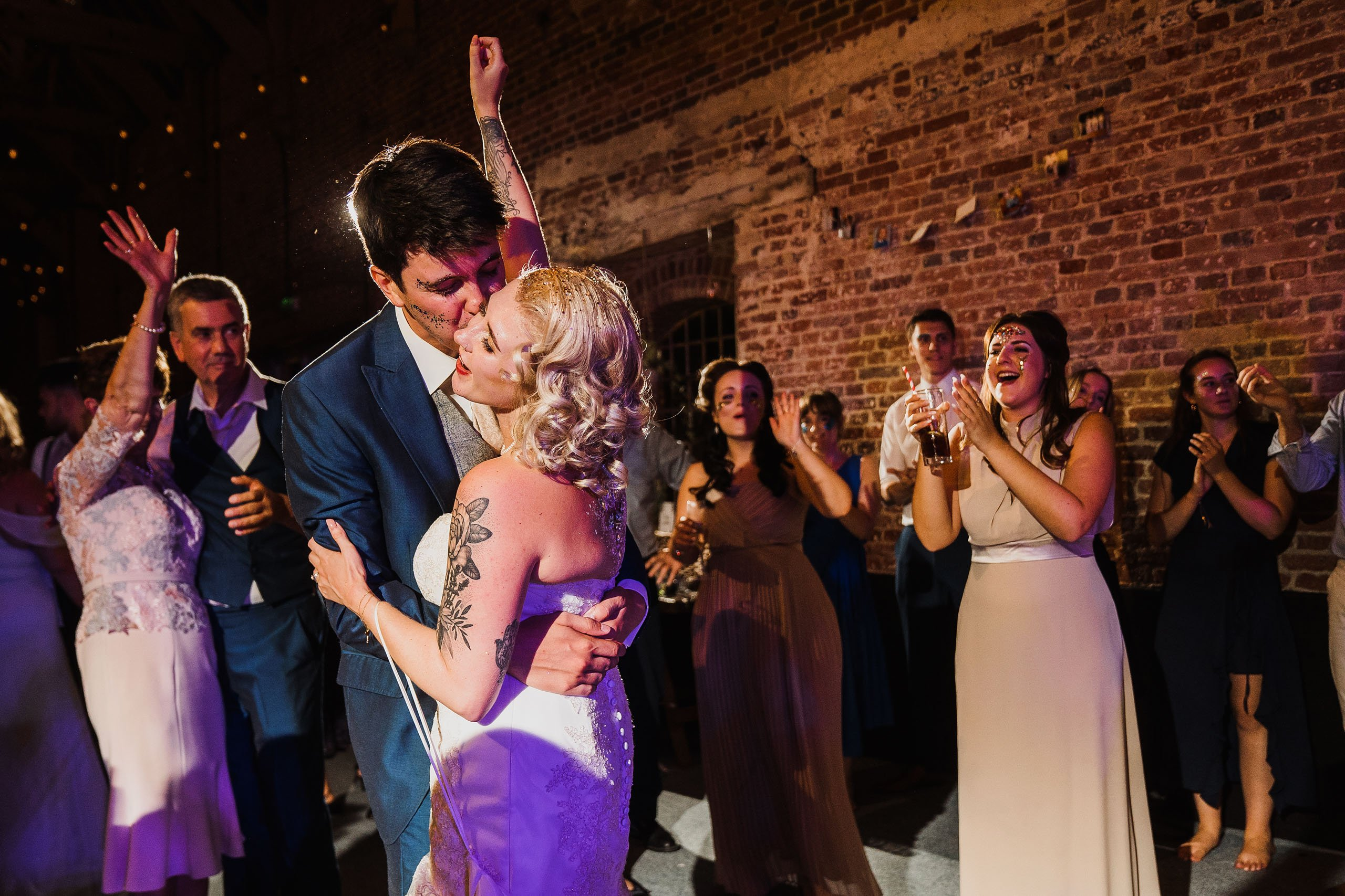 couple celebrate their wedding at Godwick Hall