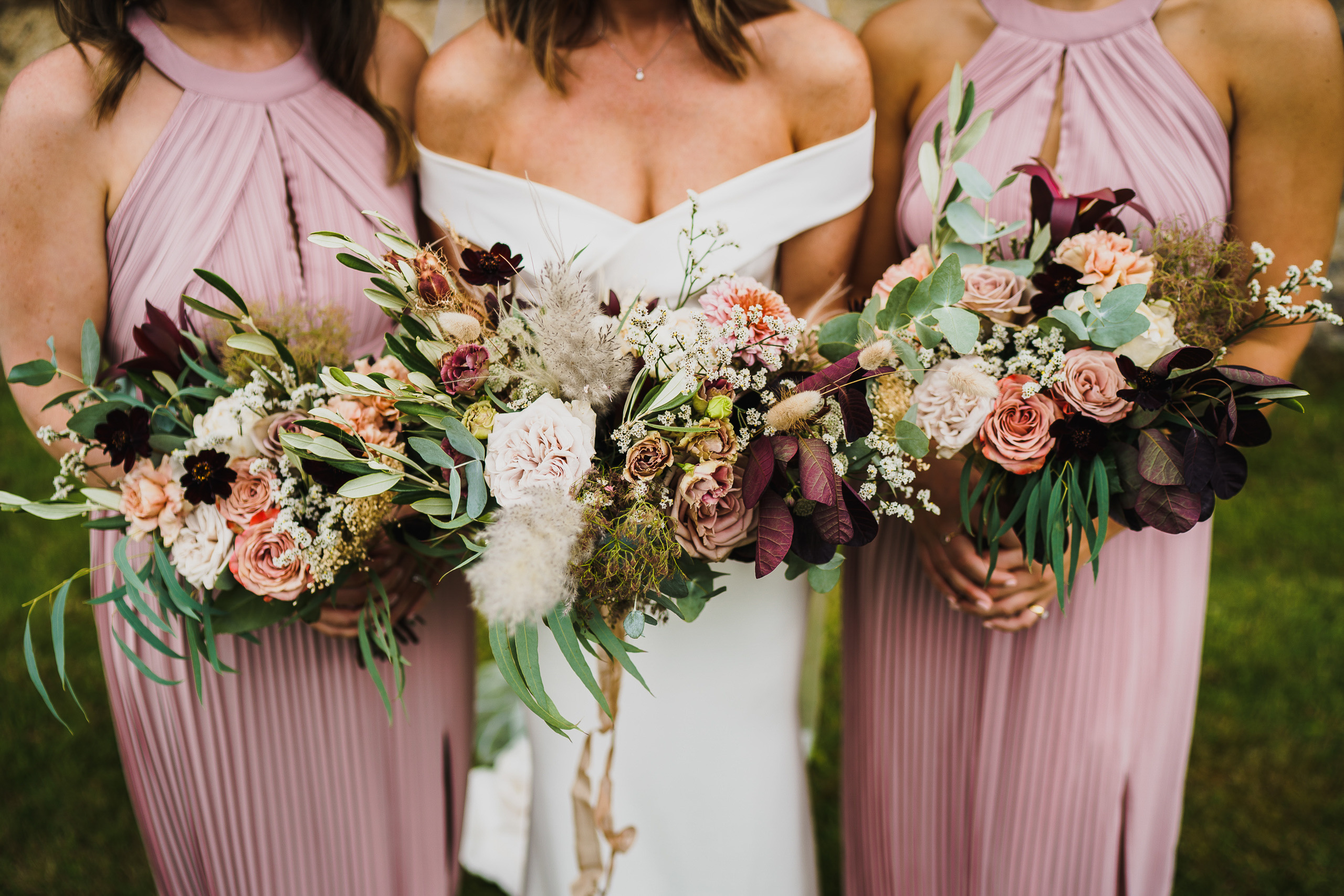 wedding bouquets and bridesmaids at Voewood near Holt.
