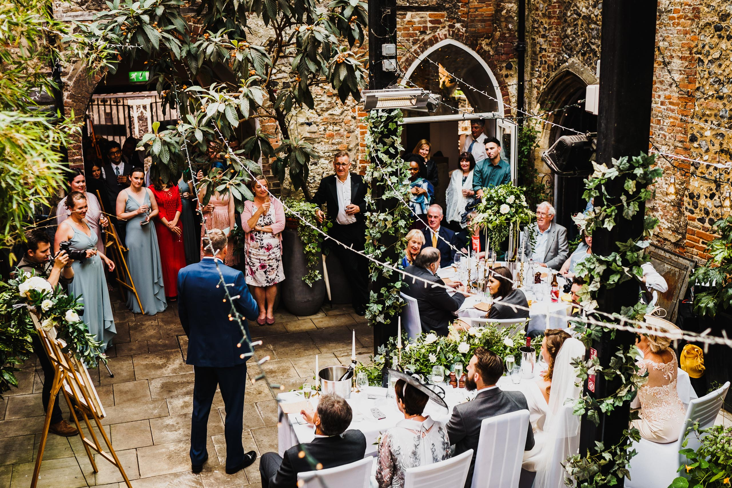 wedding speeches during a wedding breakfast at Cinema City and Dining Rooms, Norwich