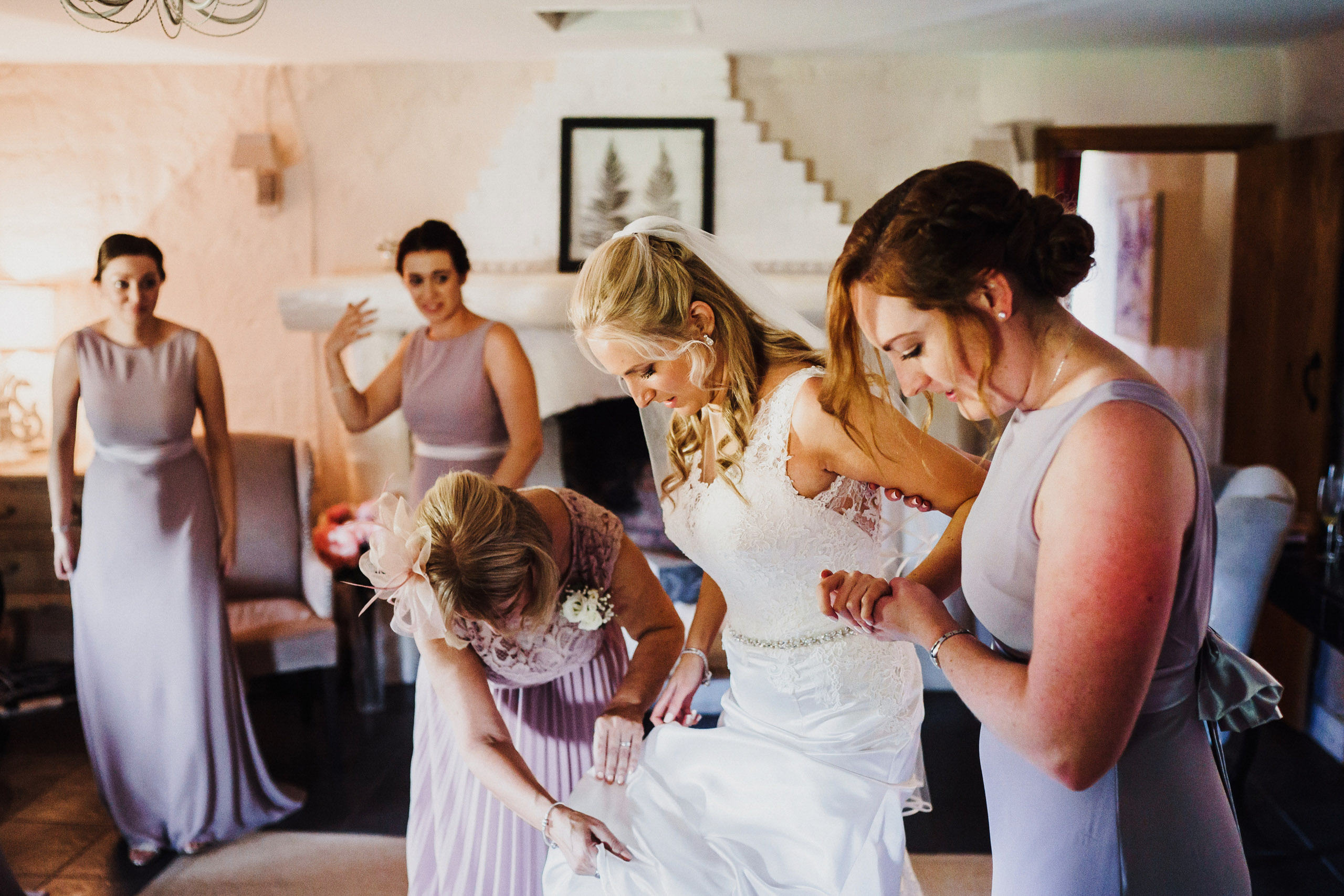 Bridal prep photos at Pentney Abbey