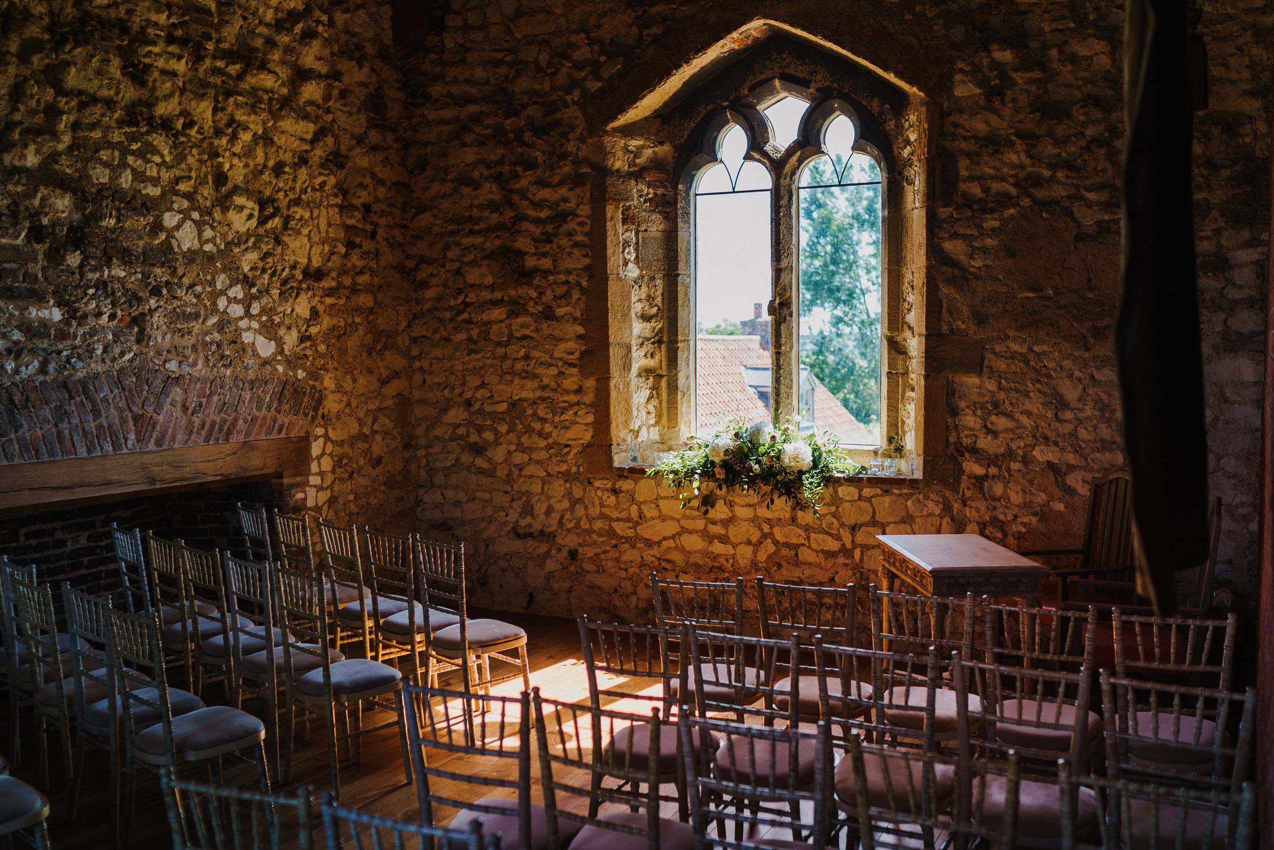The ceremony room at Pentney Abbey