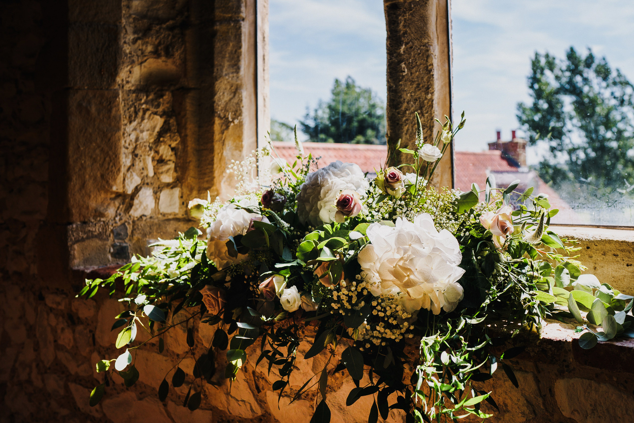 Floral details at a Pentney Abbey Wedding