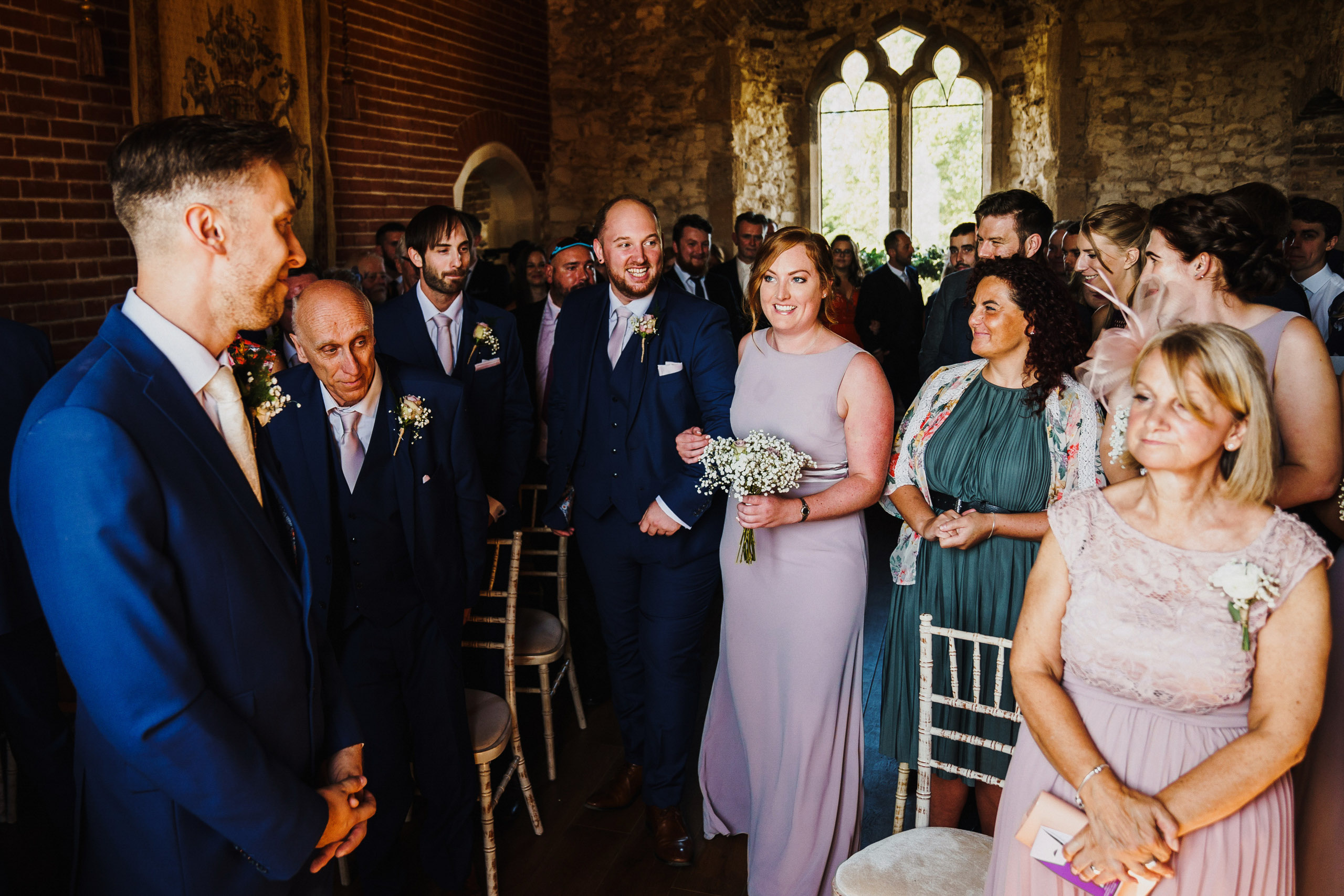 Bridesmaid and groomsmen at Pentney Abbey