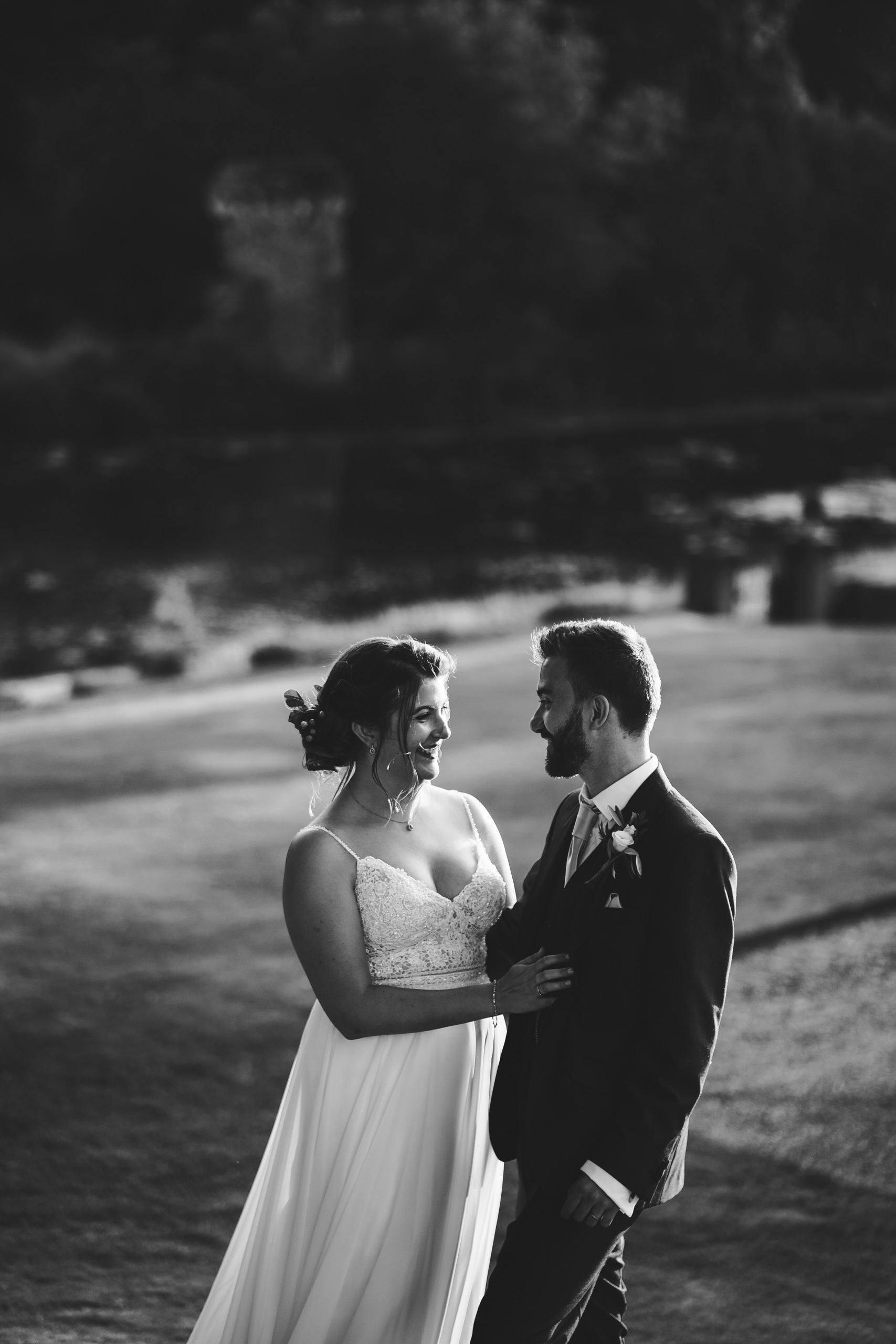 A black and white portrait of a bride and groom at Oxnead Hall near Aylsham